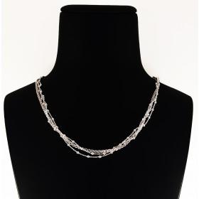 Collana tripla catena in Argento 925 con pietre rosa chiaro