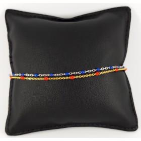 Bracciale in Argento 925 Bicolore con palline smaltate rosse e blu