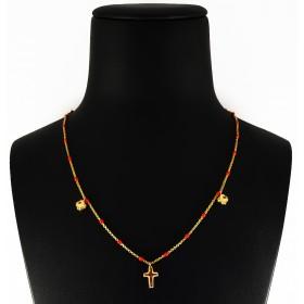 Collana in Argento 925 con croce e quadrifogli