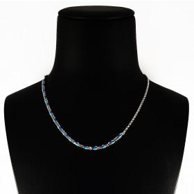 Collana in Argento 925 Bicolore Blu e Celeste