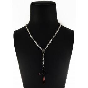 Collana Rosario in Argento 925 con Pietre Nere e Bianche